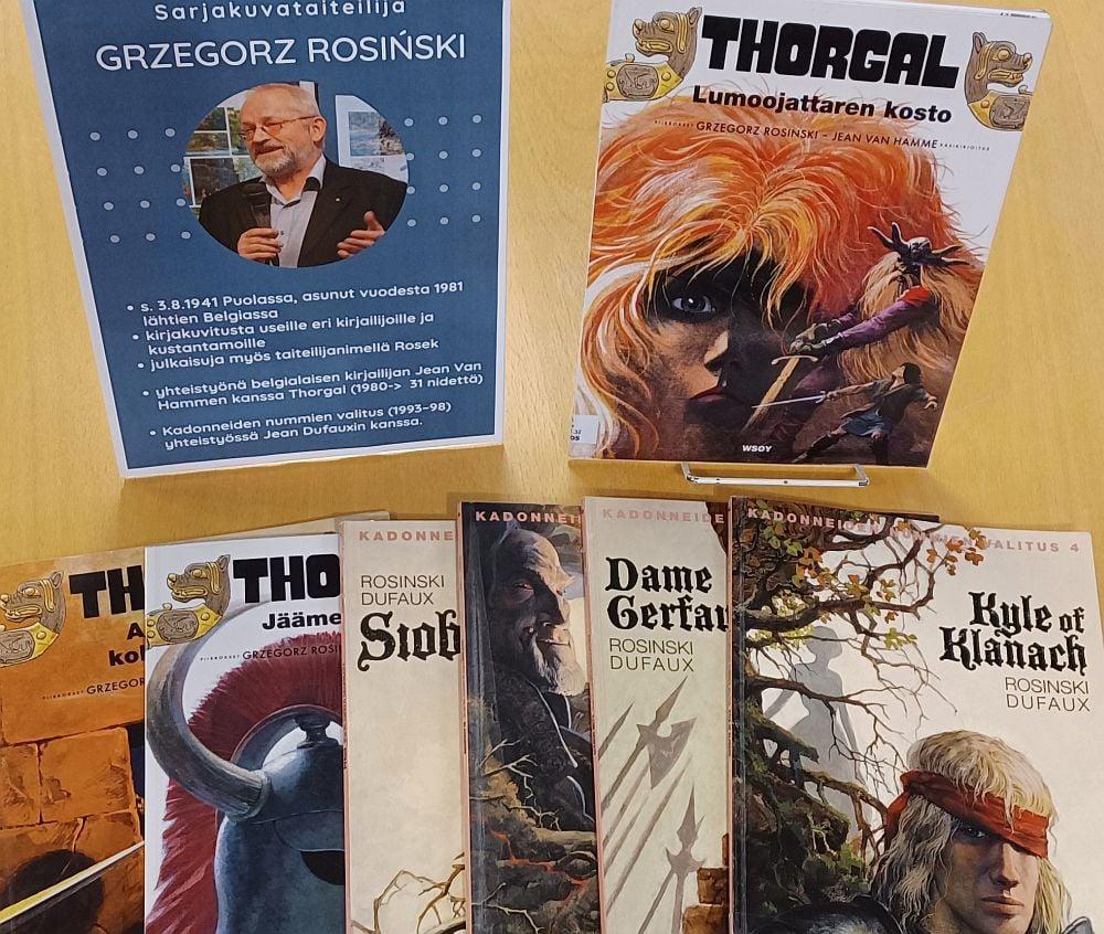 Grzegorz Rosinskin sarjakuvien näyttely Ylivieskan kaupunginkirjastossa.